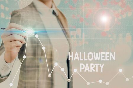 Text sign showing Halloween Party. Business photo text eve of the Western Christian feast of All Hallows Day