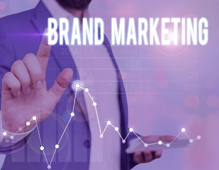 Word writing text Brand Marketing. Business photo showcasing creating a name that identifies and differentiates a product