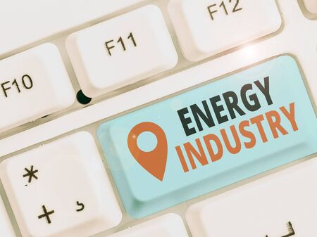 Text sign showing Energy Industry. Business photo showcasing industries involved in the production and sale of energy