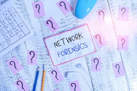 Handwriting text Network Forensics. Conceptual photo monitoring and analysis of computer network traffic Writing tools, computer stuff and math book sheet on top of wooden table