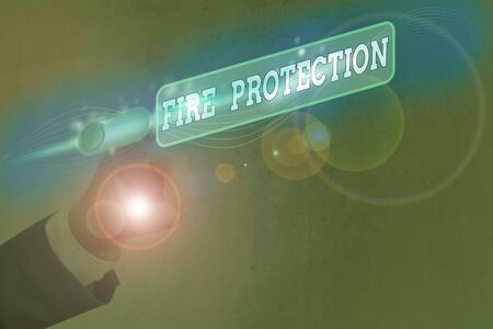Text sign showing Fire Protection. Business photo text measures taken to prevent fire from becoming destructive