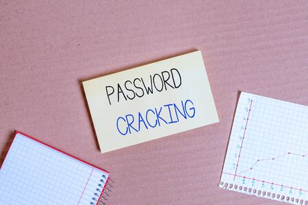 Writing note showing Password Cracking. Business concept for measures used to discover computer passwords from data Cardboard notebook office study supplies chart paper Banque d'images