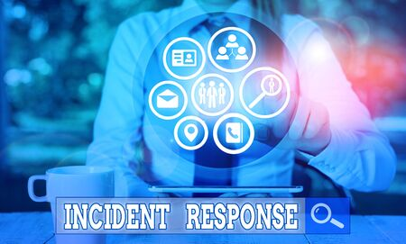 Writing note showing Incident Response. Business concept for addressing and analysing the aftermath of a security breach
