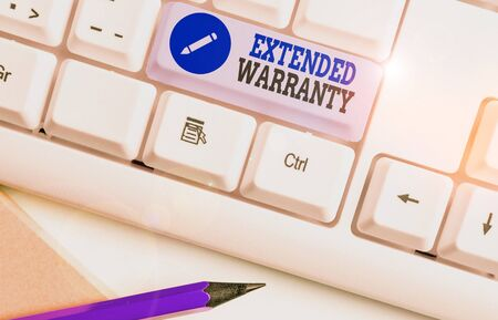 Word writing text Extended Warranty. Business photo showcasing contract which gives a prolonged warranty to consumers