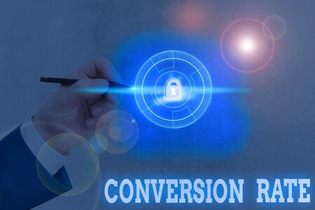 Conceptual hand writing showing Conversion Rate. Concept meaning number of visitors to a website that complete a desired goal