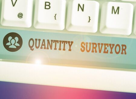 Text sign showing Quantity Surveyor. Business photo showcasing calculate the cost of the materials and work needed Archivio Fotografico