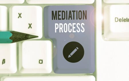 Text sign showing Mediation Process. Business photo text informal and flexible dispute resolution process Stock fotó