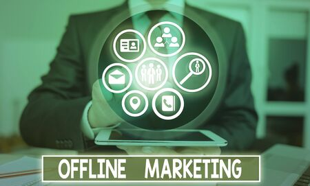 Handwriting text Offline Marketing. Conceptual photo Advertising strategy published outside of the internet