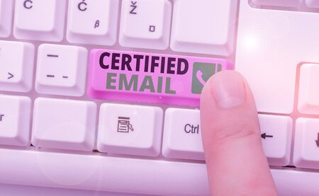 Conceptual hand writing showing Certified Email. Concept meaning email whose sending is certified by a neutral thirdparty