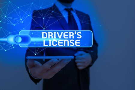 Writing note showing Driver S License. Business concept for a document permitting a demonstrating to drive a motor vehicle