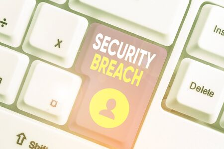 Word writing text Security Breach. Business photo showcasing any incident that results in unauthorized access of data