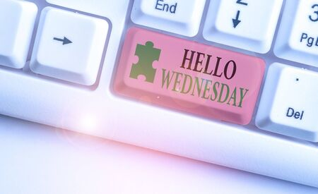 Handwriting text Hello Wednesday. Conceptual photo Hump day Middle of the working week of the calendar Reklamní fotografie
