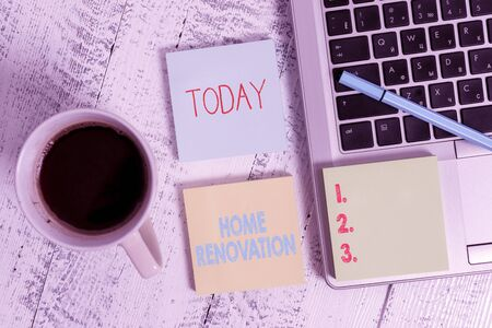Word writing text Home Renovation. Business photo showcasing process of renovating or making additions to one home Metallic laptop three sticky note pads pen coffee cup lying vintage table