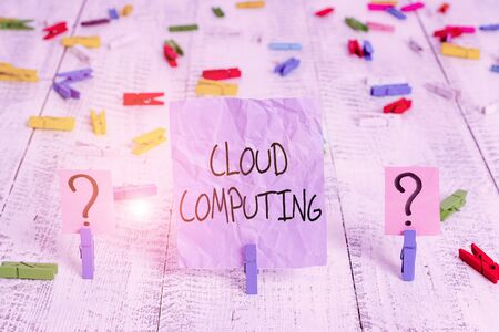 Word writing text Cloud Computing. Business photo showcasing storing and accessing data and programs over the Internet Scribbled and crumbling sheet with paper clips placed on the wooden table