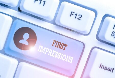 Writing note showing First Impressions. Business concept for first consideration or judgment towards a demonstrating