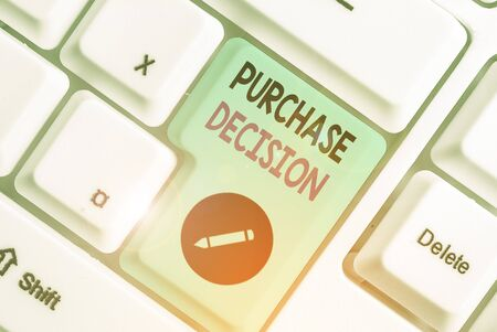 Conceptual hand writing showing Purchase Decision. Concept meaning process that leads a consumer from identifying a need,