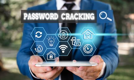 Text sign showing Password Cracking. Business photo text measures used to discover computer passwords from data Foto de archivo