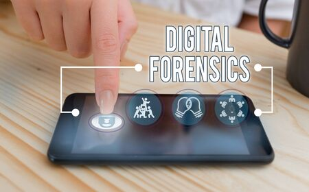 Writing note showing Digital Forensics. Business concept for investigation of material found in digital devices