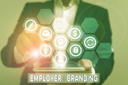 Conceptual hand writing showing Employer Branding. Concept meaning process of articulating your company unique message