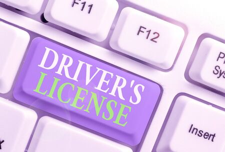 Conceptual hand writing showing Driver S License. Concept meaning a document permitting a demonstrating to drive a motor vehicle Imagens