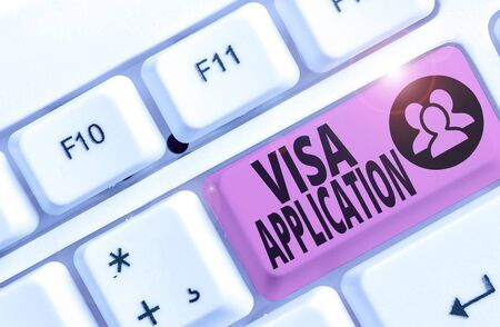 Writing note showing Visa Application. Business concept for an process of getting an entry permit to a foreign land