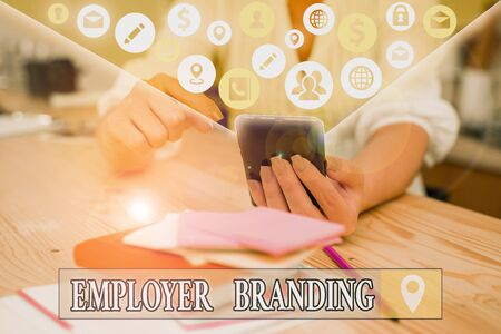 Text sign showing Employer Branding. Business photo text process of articulating your company unique message Stock Photo