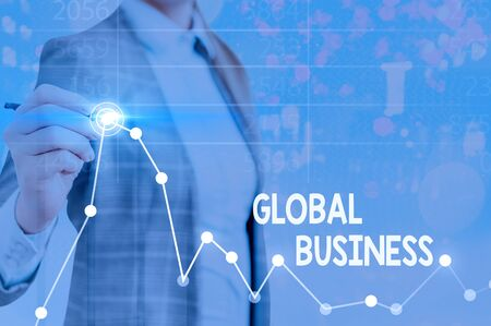 Text sign showing Global Business. Business photo text company that operates facilities in many countries