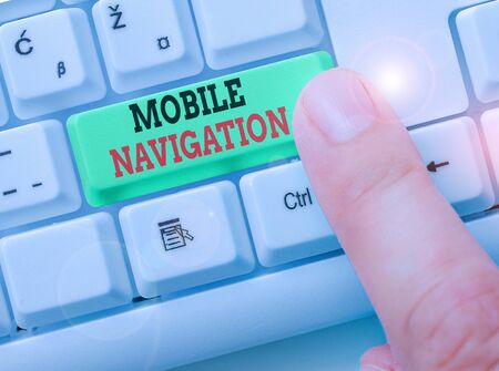 Conceptual hand writing showing Mobile Navigation. Concept meaning graphical user interface used to aid the vehicle driver