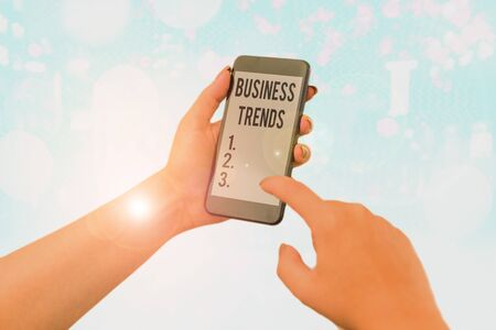 Word writing text Business Trends. Business photo showcasing a general change in the way business is developing