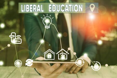 Conceptual hand writing showing Liberal Education. Concept meaning education suitable for cultivation of free huanalysis being