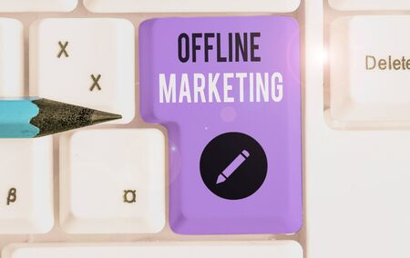 Text sign showing Offline Marketing. Business photo text Advertising strategy published outside of the internet 스톡 콘텐츠