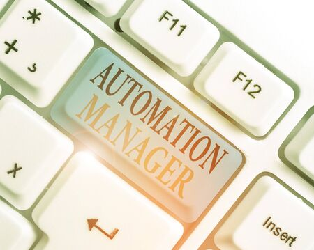 Conceptual hand writing showing Automation Manager. Concept meaning eliminate repetiative tasks across your customer base