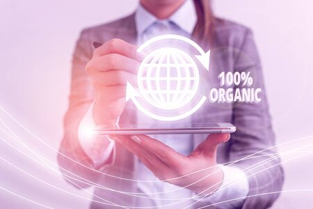 Text sign showing 100 Percent Organic. Business photo showcasing ingredients are certified no artificial food additives Stock Photo