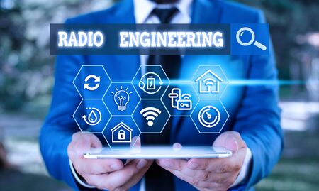 Text sign showing Radio Engineering. Business photo text Concerned with the operation and repair of radio equipment