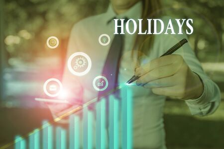 Word writing text Holidays. Business photo showcasing an extended period of leisure and recreation spent away from home Banque d'images