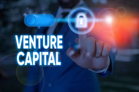 Writing note showing Venture Capital. Business concept for capital invested in a project in which there is risk