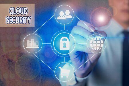 Écrit remarque montrant la sécurité du cloud. Concept d'entreprise pour la protection des données stockées en ligne contre le vol et la suppression
