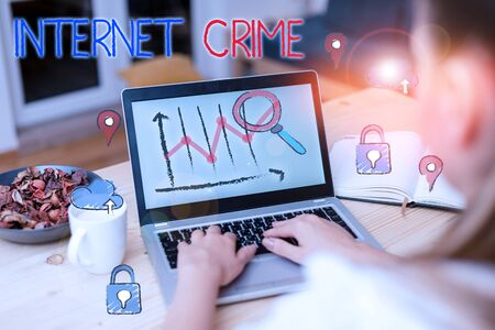 Handwriting text Internet Crime. Conceptual photo crime or illegal online activity committed on the Internet