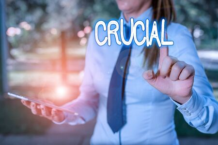Word writing text Crucial. Business photo showcasing critical especially in the success or failure of something Handsome business girl pointing with finger into empty space