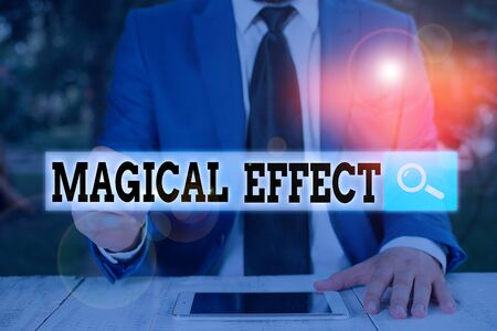 Text sign showing Magical Effect. Business photo text produced by or as if by magic a magical transformation words 스톡 콘텐츠