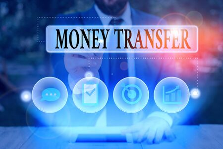 Text sign showing Money Transfer. Business photo text The act of transferring money from one place to another place