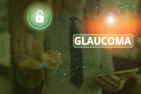Text sign showing Glaucoma. Business photo text Eye diseases which result in damage to the optic nerve Vision loss Banco de Imagens