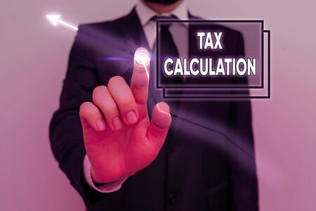 Handwriting text Tax Calculation. Conceptual photo an assessment of how much to pay to the government Banco de Imagens