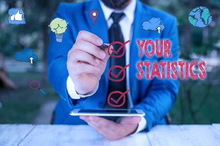 Text sign showing Your Statistics. Business photo showcasing information based on a study of the number of times