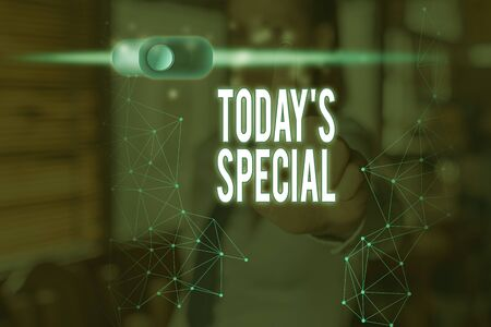 Conceptual hand writing showing Today Special. Concept meaning a day that filled with surprising events Unordinary day