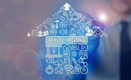 Word writing text Annual Meeting. Business photo showcasing a meeting of the general membership of an organization