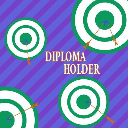Word writing text Diploma Holder. Business photo showcasing a demonstrating successfully completed a particular course of study Arrow and round target inside asymmetrical shaped object multicolour des 스톡 콘텐츠