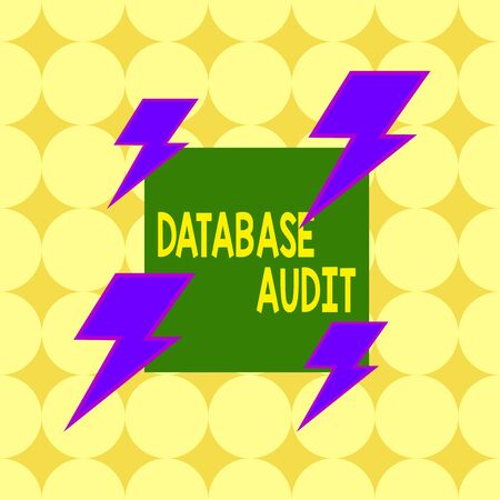 Conceptual hand writing showing Database Audit. Concept meaning auditing of data to assess its quality for a specific purpose Asymmetrical format pattern object outline multicolor design