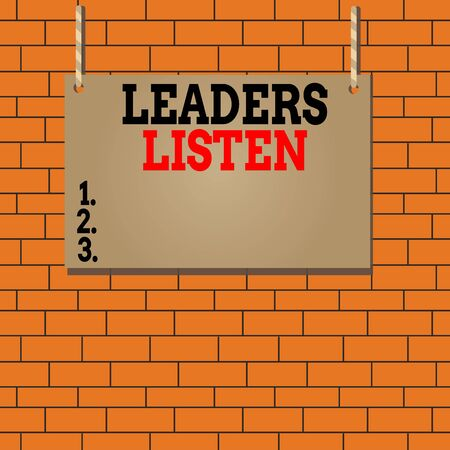 Text sign showing Leaders Listen. Business photo text knowledge are not gained by talking but by listening Wooden board wood rectangle shape empty frame fixed colorful striped string