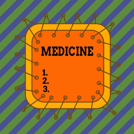Text sign showing Medicine. Business photo text A substance or preparation used in treating disease Pills Asymmetrical uneven shaped format pattern object outline multicolour design